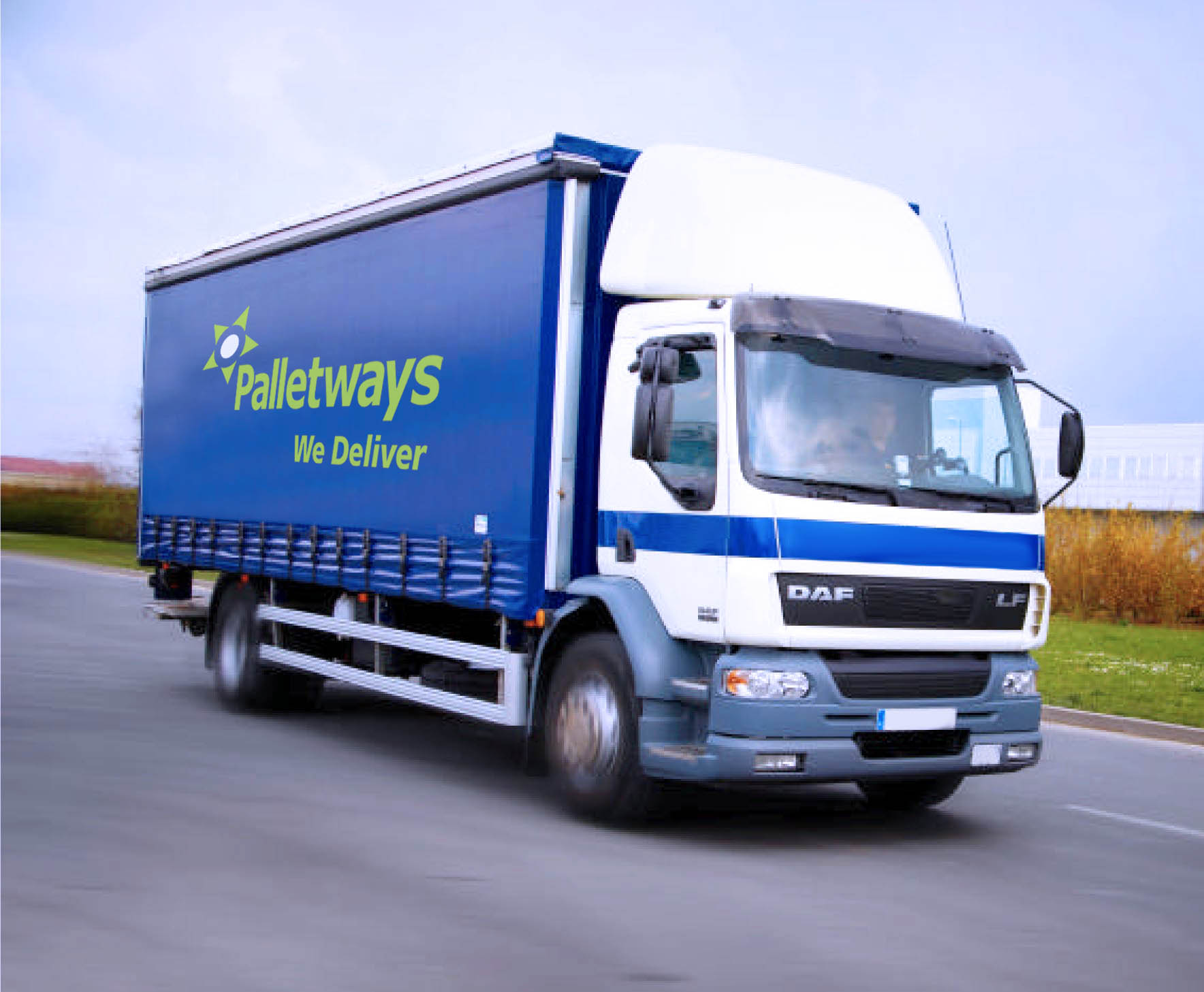 Palletways lorry in countryside
