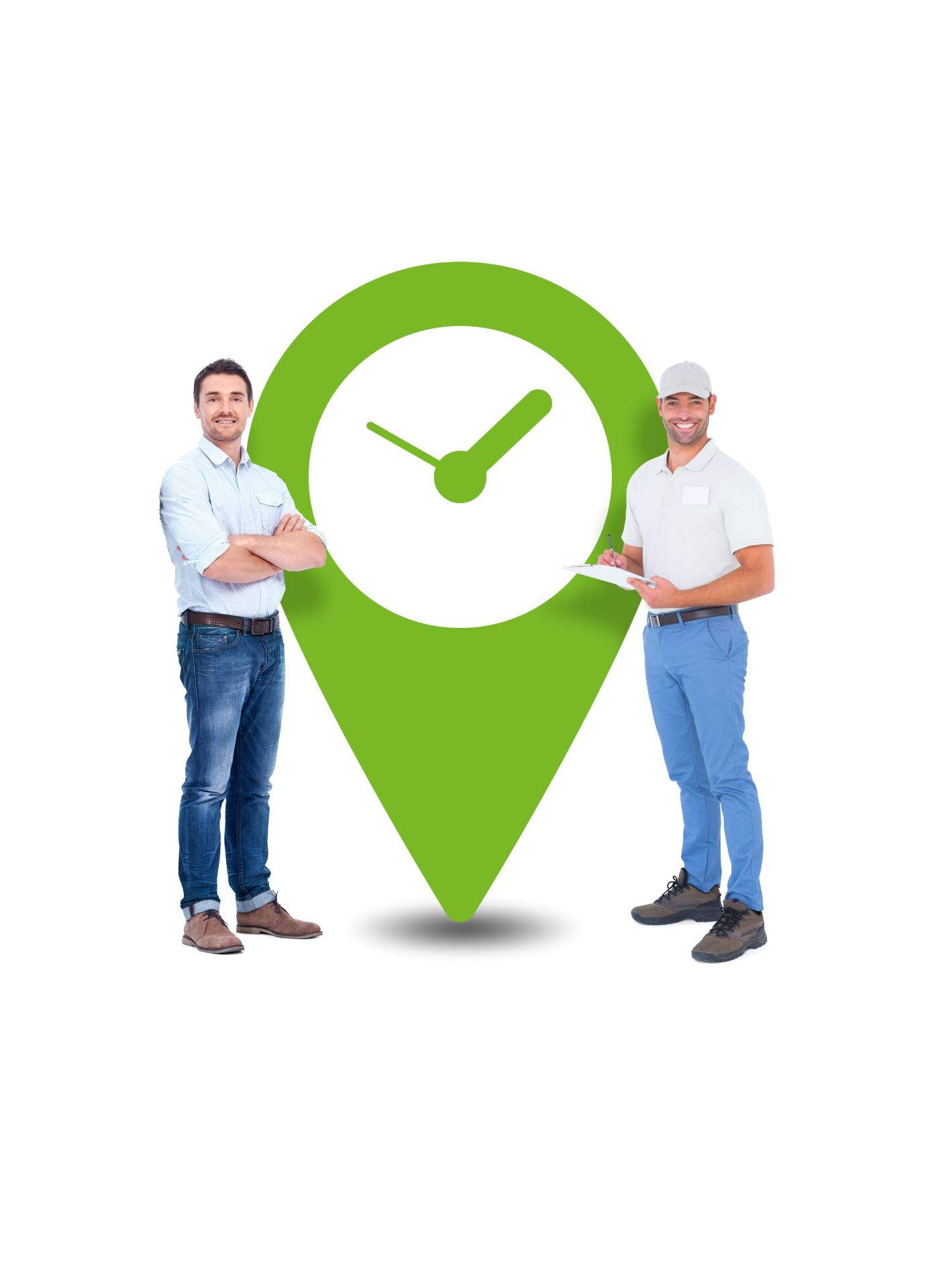 Two men with location pin with clock inside